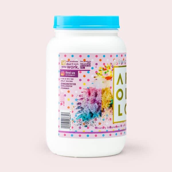 birthday cake protein powder - side label