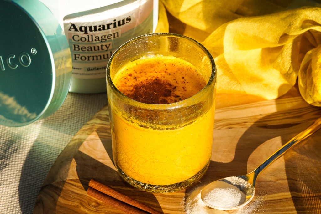 golden milk latte with turmeric and collagen